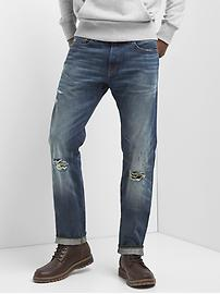 Selvedge destructed slim fit jeans with GapFlex