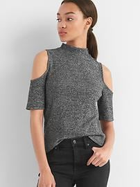 Haut à épaules ouvertes en tricot côtelé au fini soyeux