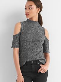 Softspun ribbed cold-shoulder top