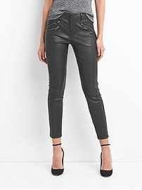 Leather moto skinny ankle pants