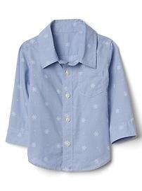 Chemise à manches longues en popeline à motif de flocons de neige