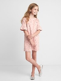 Print bell sleeve shift dress