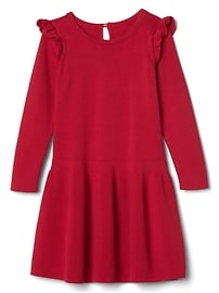 Long sleeve ruffle sweater dress