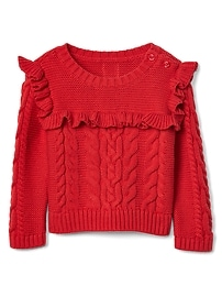 Cable-knit ruffle sweater