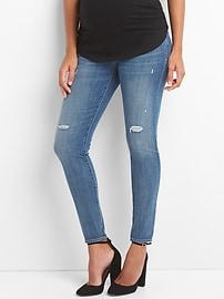 Maternity full panel distressed true skinny jeans
