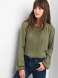 Pintuck lace crepe top