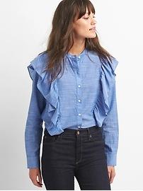 Ruffle cascade shirt