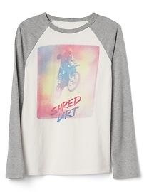 T-shirt de baseball à imprimé à manches longues