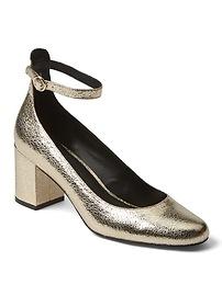 Metallic ankle strap block heels