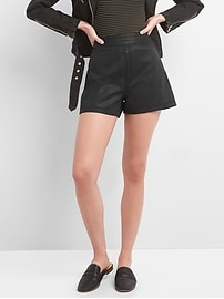"Mid Rise 3.5"" Coated Denim Shorts with Side-Zips"