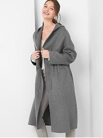 Manteau à capuchon et à glissière en laine