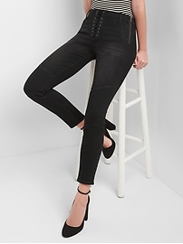 Mid Rise True Skinny Ankle Jeans with Lace-Up Detail