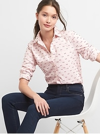 Clip-dot oxford fitted boyfriend shirt