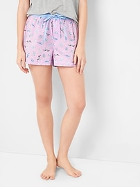 Poplin print sleep shorts