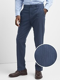 Brushed Cotton Pattern Pants in Slim Fit with GapFlex