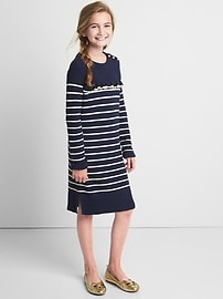 Stripe ruffle sweater dress