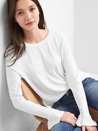 T-shirt évasé à manches flottantes en tricot moelleux