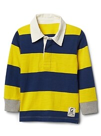 Rugby stripe long sleeve polo