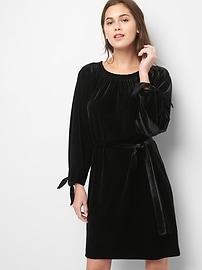 Robe en velours avec lien à la taille