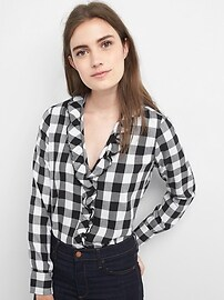 Buffalo plaid ruffle shirt