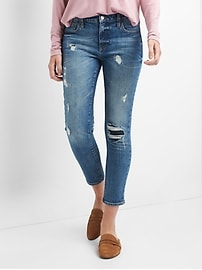Mid Rise Best Girlfriend Jeans with Destructed Repair