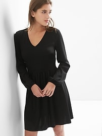 Ponte V-neck fit and flare dress