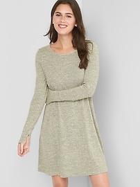 Long sleeve metallic swing dress