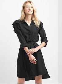 Ruffle tie-belt shirtdress