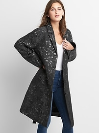Jacquard trench topper coat