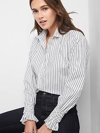 Chemise rayée avec manches à smocks