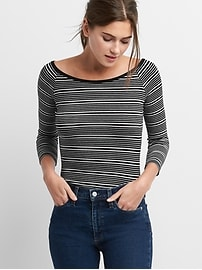 Stripe softspun off-shoulder tee