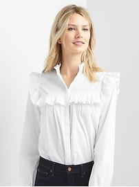 Oversize ruffle trim shirt