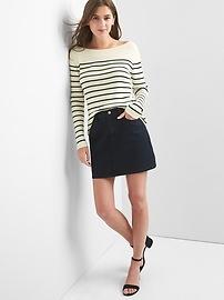 Stripe boatneck pullover sweater