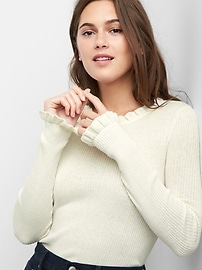 Ribbed ruffle neck sweater