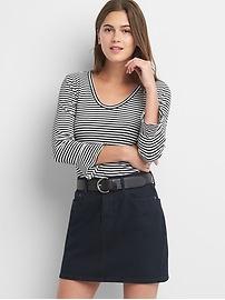 Stripe long sleeve peplum top