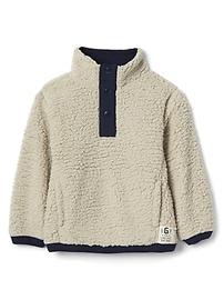 Cozy button mockneck pullover
