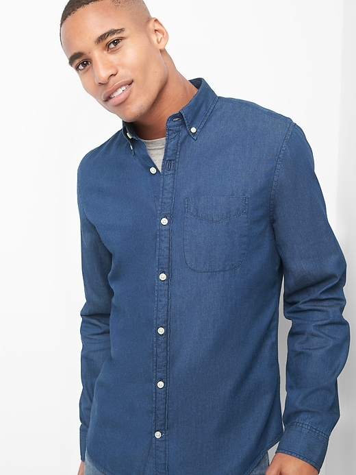 Indigo Twill Slim Fit Shirt by Gap