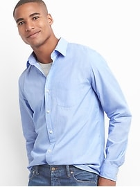 True wash poplin end-on-end standard fit shirt