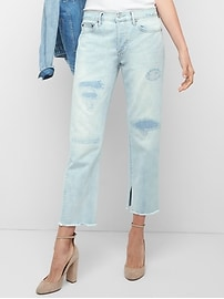 Mid rise destructed vintage straight jeans