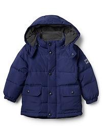 EcoPuffer fleece-lined down jacket