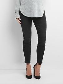 Maternity inset panel moto true skinny ankle jeans