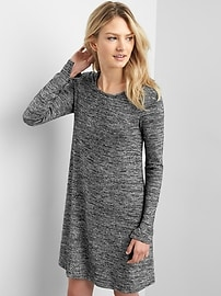 Long sleeve metallic swing dress