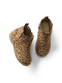 Bottines festonnées en léopard