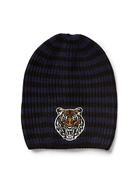 Animal-patch ribbed beanie
