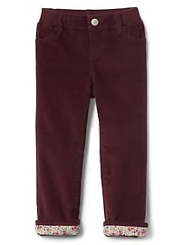 Poplin-lined straight cord jeans