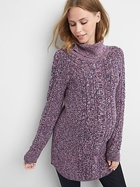 Maternity cable-knit turtleneck sweater tunic