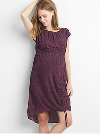 Maternity print lace-up ruched dress