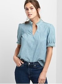 Short Sleeve Pintuck Top in Chambray