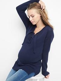 Maternity lace-up sweater tunic