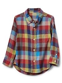Crazy plaid button-down shirt